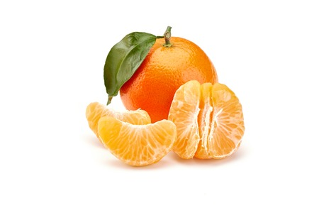fresh mandarines isolated on white background Stock Photo