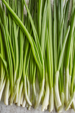 closeup of spring onions