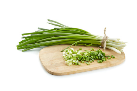 Spring onions on white background Stock Photo - 38558273