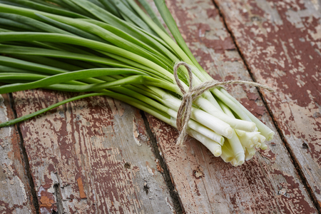 fresh spring onions on dark rustic wood