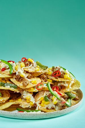 Nachos on blue background