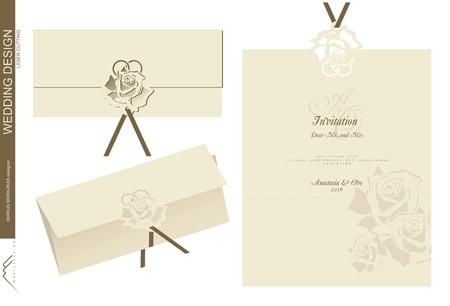 結婚式の招待状のデザイン、印刷、伐採形状と折りたたみ 写真素材 - 66894823