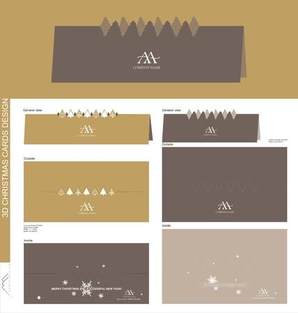 Christmas card design made by way of folding Ilustração