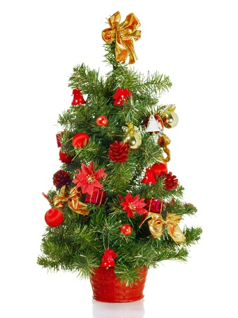 toygift: Christmas tree with decorations, isolated on white
