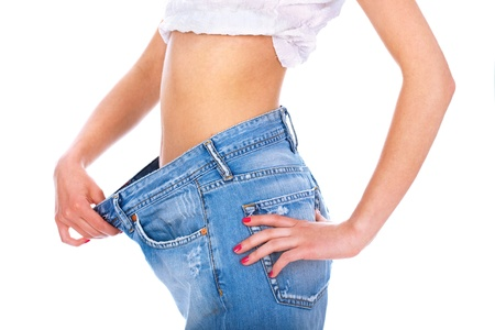 inches: Handsame lady losted a lot of her kilograms Stock Photo
