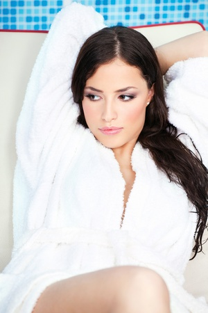 bath robes: Woman resting in spa center Stock Photo