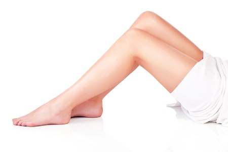 legs of young woman, isolate on white background. Health concept Stock Photo