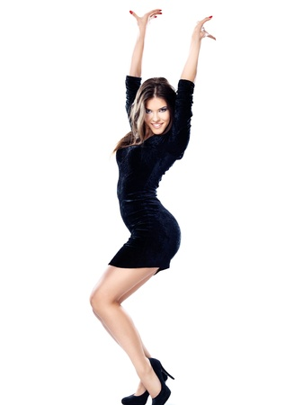 Pretty woman in black dress isolated on white background Stock Photo