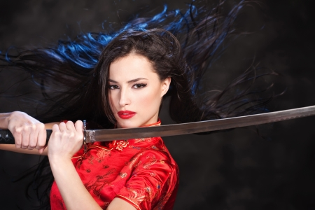 mujer pirata: Mujer, kimono, La chica de acción con katana  espada