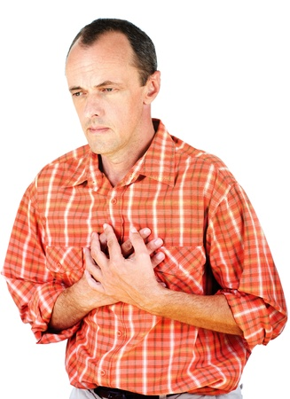 Man have a heart attack, isolated on white background Stock Photo