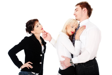 Pretty blonde woman have unfaithful boyfriend, isolated on white background Stock Photo