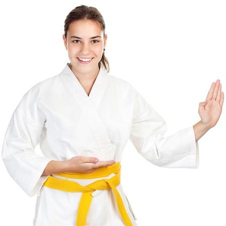 artes marciales: Artes marciales chica, aisladas sobre fondo blanco Foto de archivo