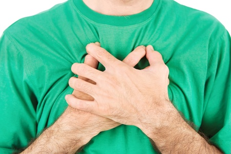 Both mans hands on breast because of hard breathing, horizontal, isolated on white Stock Photo