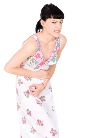 menses: Woman in terrible pain in stomach