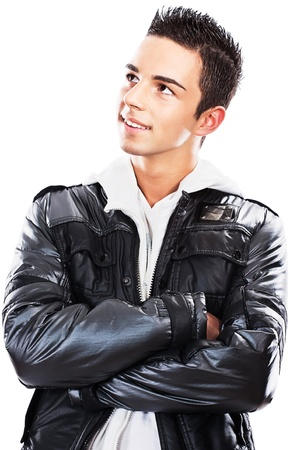 Portrait of a young handsome man in black jacket, isolated on white