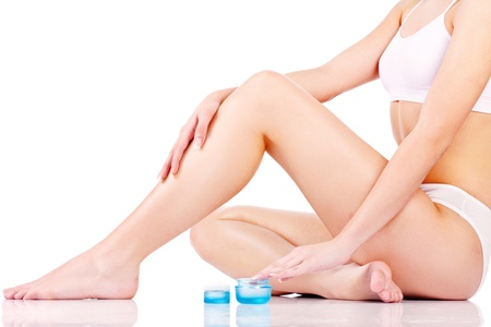 Legs cosmetic treatment, isolate on white background