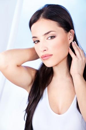 sensual lips: Pretty woman with sensual lips Stock Photo