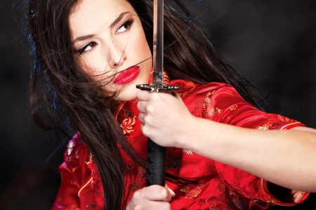 beautiful female katana warrior photo