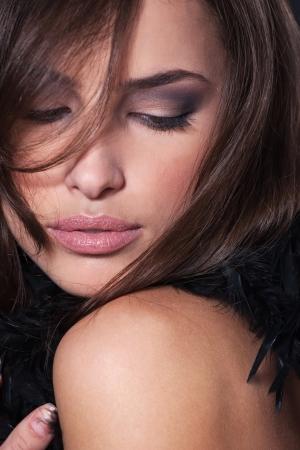 mujer elegante: Primer plano de la cara de una mujer bonita Foto de archivo