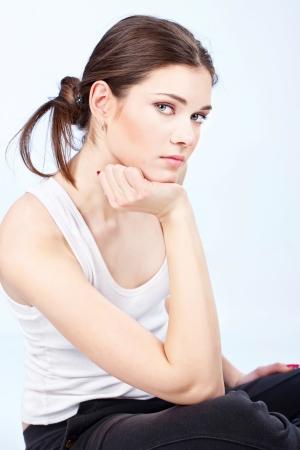 Portrait of a pretty brunette woman Stock Photo - 14880930