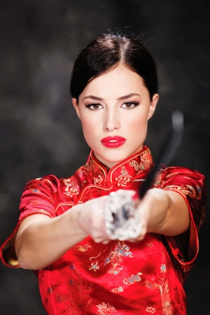 catfight: beautiful female katana warrior