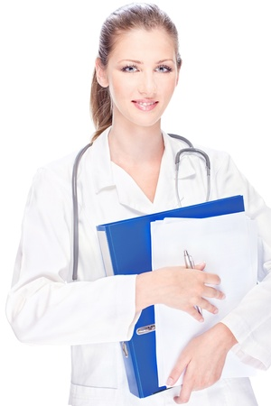 Portrait of a young female doctor with papers and stethoscope