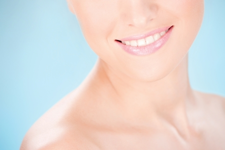 Part of a womans face, smile Stock Photo