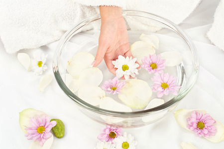 Spa composition, womans hand holding flower Stock Photo