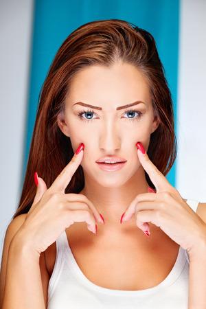 long nails: Portrait of a pretty brunette woman