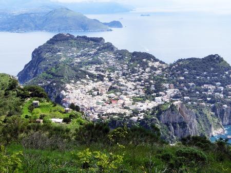tyrrhenian: Panorama of Capri island, Italy. Capri is an island in the Tyrrhenian Sea near Naples.