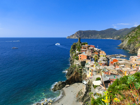 vernazza: The view of Vernazza in Cinque Terre, Italy Stock Photo