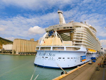 allure: Barselona, Spaine - September, 6 2015: Royal Caribbean, Allure of the Seas is in port at startup in Barselona on September 6 2015. The second largest passenger ship constructed behind sister ship Oasis of the Seas.