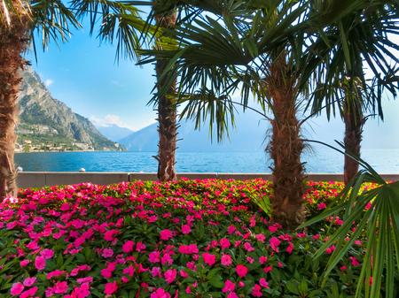 Hoge bergen en loopbrug aan de kust, Gardameer, Italië, Europa Stockfoto - 58291570