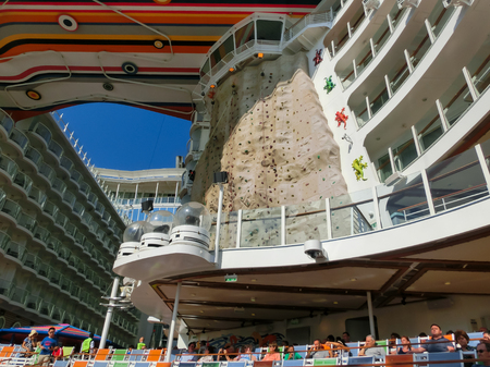 allure: Barselona, Spaine - September, 6 2015: Royal Caribbean, Allure of the Seas sailing from Barselona on September 6 2015. The second largest passenger ship constructed behind sister ship Oasis of the Seas. Editorial
