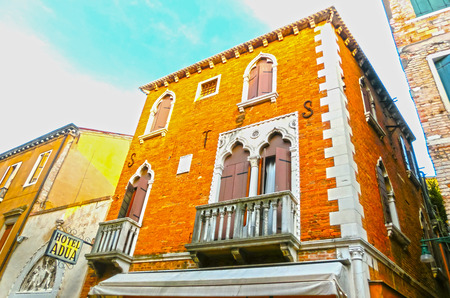 the merchant of venice: Venice, Italy - June 13, 2015 : Beautiful facade of typical house or hotel Adua in Venice
