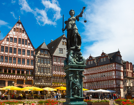 roemer: FRANKFURT, GERMANY - JUNE 15, 2016: View of Roemerberg square in Frankfurt, Germany. Frankfurt is the fifth-largest city in Germany.