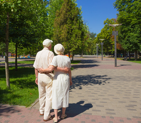 walk in: The back view of old couple in the summer on a walk in park