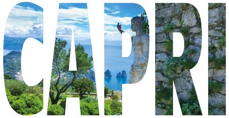 tyrrhenian: Capri island, Italy.Capri is an island in the Tyrrhenian Sea near Naples. Capri - island name sign with photo in background Stock Photo