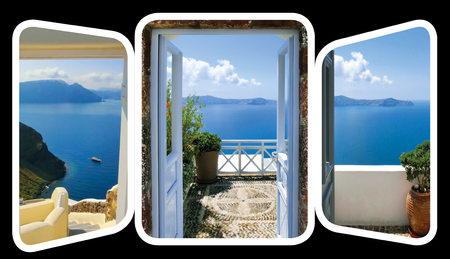 open gate: The open gate and stairs, leading to a sea. The set from views in Oia, Santorini, Greece