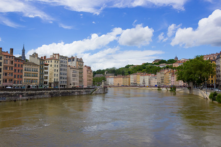 sone: The view from river Sona to the bridge and Lyon city, France