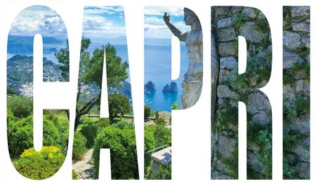 Capri island, Italy.Capri is an island in the Tyrrhenian Sea near Naples. Capri - island name sign with photo in background Stock Photo