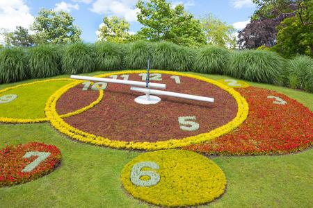 lakefront: The Flower Clock at Geneva city lakefront Stock Photo