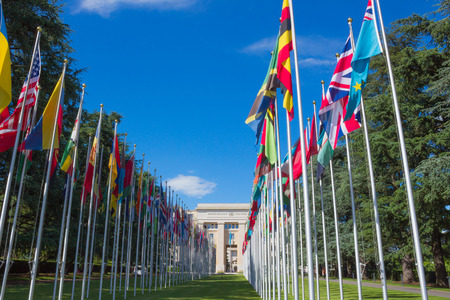 neutrality: Gallery of national flags at UN entrance in Geneva, Switzerland