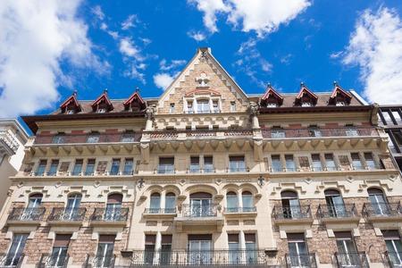 Building architecture close up in Geneva city, Switzerland