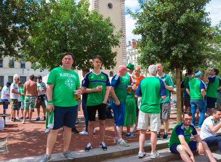 Lyon, France - June 16, 2016: Northern Ireland fans at of the European Football Championship EURO 2016
