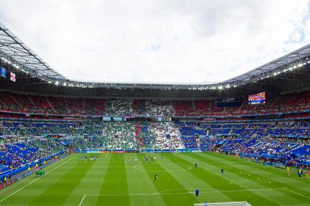 Lyon, France - June 16, 2016: Players training before UEFA EURO 2016 game of Ukraine against N.Ireland. Stade de Lyon, Lyon, France