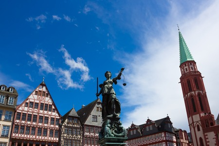 justitia: The old town with the Justitia statue in Frankfurt, Germany