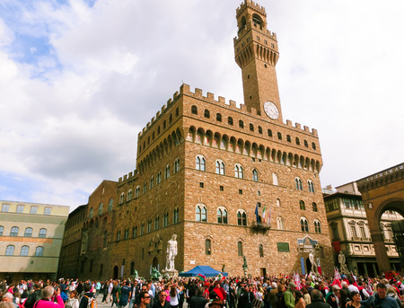 Florence, Italy - May 01, 2014: Palazzo Vecchio is the town hall of Florence. The palace was built in 1299 and since 1872 it has housed the office of the mayor of Florence. December 01, 2012 Florence, Italy