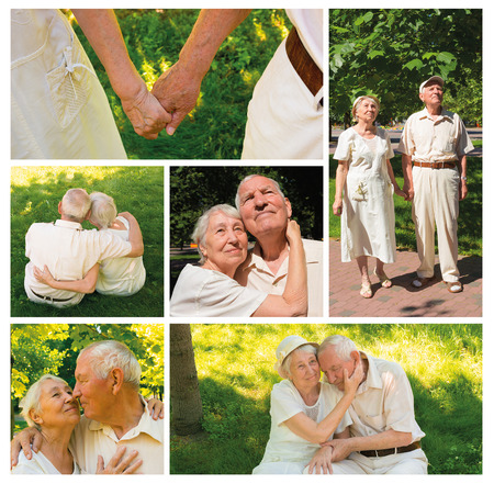 The happy old couple in the summer on a walk in park. Collage