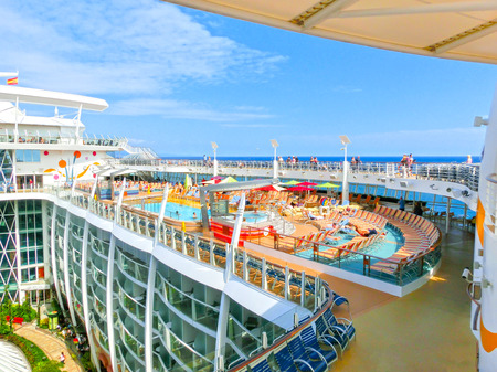 allure: Barselona, Spaine - September 06, 2015: Royal Caribbean, Allure of the Seas sailing from Barselona on September 6 2015. The second largest passenger ship constructed behind sister ship Oasis of the Seas. Editorial